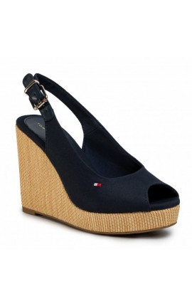 TOMMY HILFIGER Iconic Elena Sling Back Wedge FW0FW04789 Desert Sky DW5