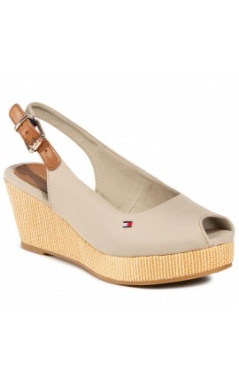 TOMMY HILFIGER Iconic Elba Sling Back Wedge FW0FW04788 Stone AEP