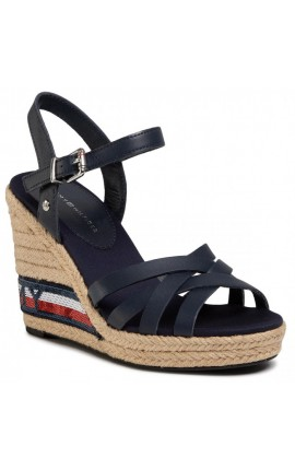 TOMMY HILFIGER Tommy Sequins High Wedge Sandal FW0FW04843 Sport Navy DB9 Espadrilles