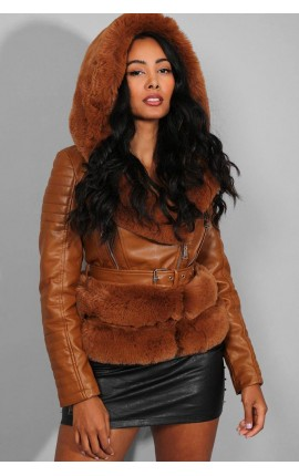 CAMEL FAUX FUR TRIMS BELTED CAMEL VEGAN LEATHER JACKET SKU: FLM-FL202002/CAMEL/S
