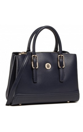 TOMMY HILFIGER HONEY SATCHEL AW0AW08802-CJM ΣΚΟΥΡΟ ΜΠΛΕ
