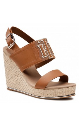 TOMMY HILFIGER Th Elastic High Wedge Sandal FW0FW05599 Summer Cognac GU9
