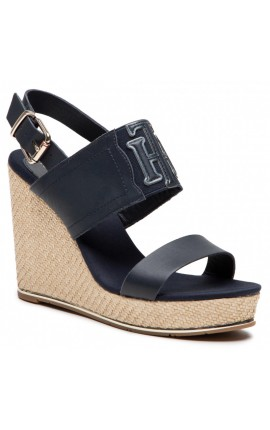 TOMMY HILFIGER Th Elastic High Wedge Sandal FW0FW05599 Desert Sky DW5