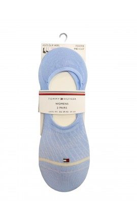TOMMY HILFIGER 100002384 002 ΑΠΑΛΟ ΓΑΛΑΖΙΟ Σετ 2 ζευγάρια κοφτές κάλτσες γυναικείες